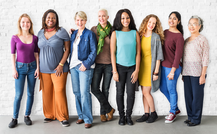 A group of women in all different stages of life and diversity.